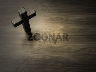 dark wooden cross symbol with space for text