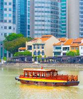 Tourist boat quay Singapore river