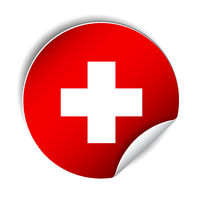 Bright sticker with flag of Swiss. Vector