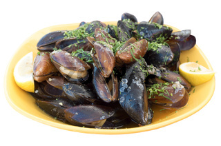 Fresh mussels. Mussels isolated on white background.