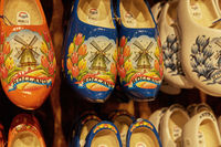 Colorful vintage hand painted wooden Dutch Clogs at Zaanse Schans, close to Amsterdam in Netherlands
