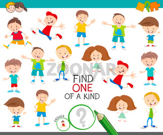 one of a kind game with happy cartoon children