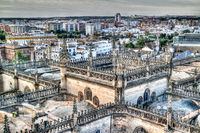 Panoramic aerial cityscape of Seville city from Cathedral in Spain