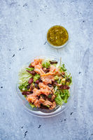 A delicious smoked salmon take away salad