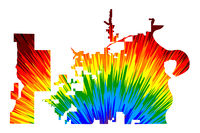 Omaha city (United States of America, USA, U.S., US, United States cities, usa city) - map is designed rainbow abstract colorful pattern, City of Omaha map made of color explosion,