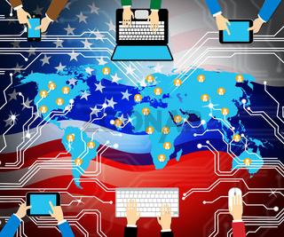 Website Hacked Cyber Security Alert 2d Illustration