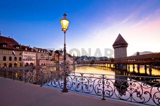 Kapelbrucke in Lucerne famous Swiss landmark dawn view