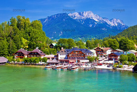 Konigssee Alpine lake wooden village coastline view