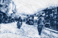 people walking in the streets of Cairo ballpoint pen doodle