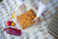 Hands of woman with pieces of apple pie on a checkered blanket