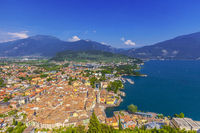 View from ruined castle Il Bastione at the historic district and the port of Riva del Garda, Italy