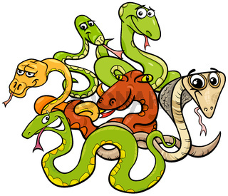 funny snakes cartoon animal characters