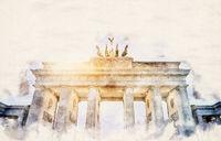 watercolor Brandenburger Tor
