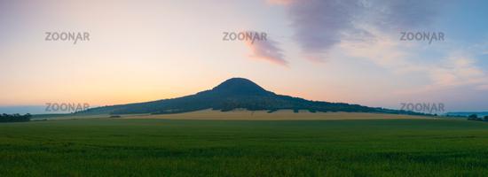 Famous Oblik hill in Czech Bohemian Uplands, Czech Republic