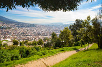 Panorama of Quito seen from the Panecillo wood