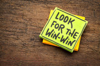 Look for win-win reminder on sticky note