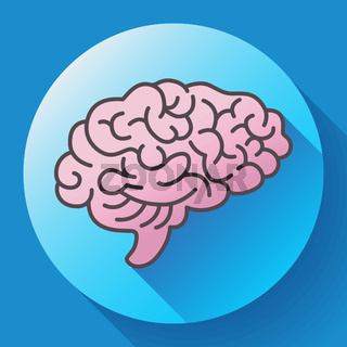 Human brain icon, symbol of intellect, study, learning and education.