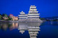 Matsumoto Castle at night in Matsumoto city, Japan