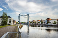 Willebroek, Belgium - May 27, 2019:  Panoramic view of the iron drawbridge over the Brussels-Scheldt canal in Willebroek