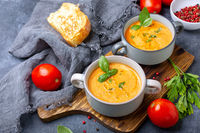 Tomato soup with cream and basil.