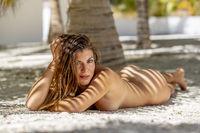Nude Hispanic Brunette Model Posing Outdoors