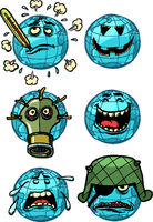 character planet earth. ecology global warming war laughter trouble set Emoji