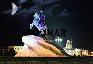 Monument of Piter First, Medniy horseman, in Saint-Petersburg, night time
