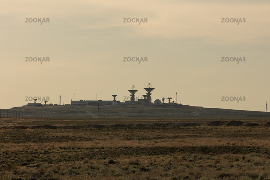 Antenna at the spaceport. The tracking center at the Baikonur cosmodrome, a signaling station launch
