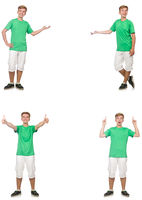 Young boy in green t-shirt isolated on white