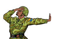 african soldier in uniform shame denial gesture no. anti militarism pacifist