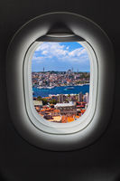 Istanbul view in airplane window