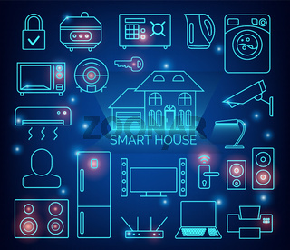 Smart home automation vector background. Connected smart home devices like phone, smart watch, tablet, sensors, appliances. Network of connected devices with flat design.