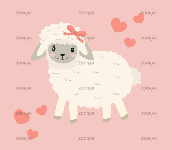 Cute little sheep baby clip art funny smiling animal. Vector illustration