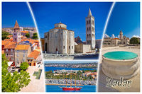 Town of Zadar tourist postcard with label