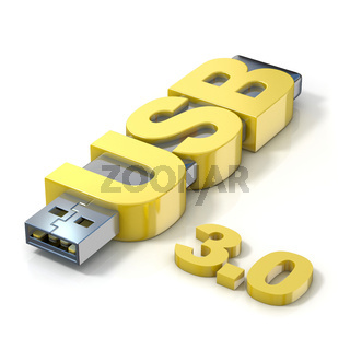 USB flash memory 3.0, made with the word USB. 3D