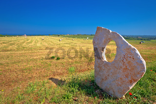 Green landscape of Istria and stone monument in Dajla