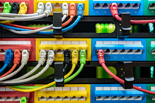 Colorful Telecommunication Colorful Ethernet Cables Connected to the Switch in Internet Data Center