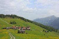 Small village Obermutten, Canton of Grisons, Switzerland.