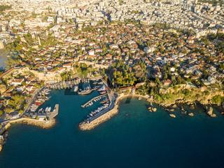 Aerial View Kaleici Harbor Hidirlik Antalya Turkey