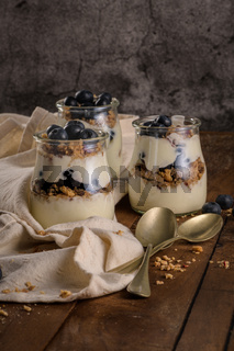 Yogurt parfait with blueberry and granola