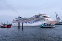 Cruise ship MSC Magnifica leaves Hamburg Harbor.