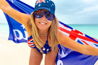 Happy Australia Day Woman wearing Australian flag things