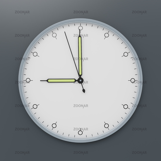 a clock shows nine o'clock