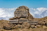 The highest peak signpost of Bale Mountain