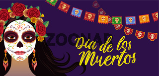 Day of dead, colorful banner with girl with traditional make-up