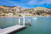 Akaroa Pier in new Zealand in Spring
