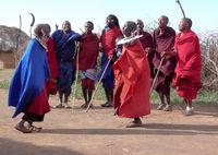 Olpopongi, Kilimnjaro Province / Tanzania: 29. December 2015: Tanzania Masai tribespeople in traditional clothing in Olpopongi Cultural Village performing a heritage dance