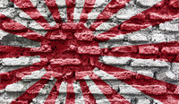 Japan rising sun ancient wall
