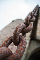 Rusty chain links close up