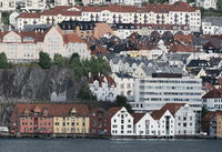 Picturesque Houses On Mountain Slope In Bergen, Norway